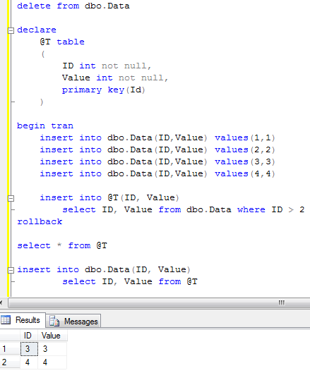 Sunday t sql tip temporary table variables and for Table variable in sql server
