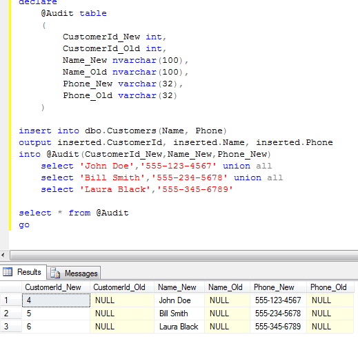 Sunday t sql tips inserted deleted tables and output for Sql update table