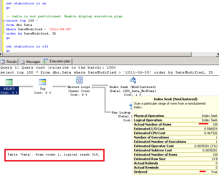 Sunday T-SQL Tip: select top N using aligned non-clustered index on  partitioned table | About Sql Server